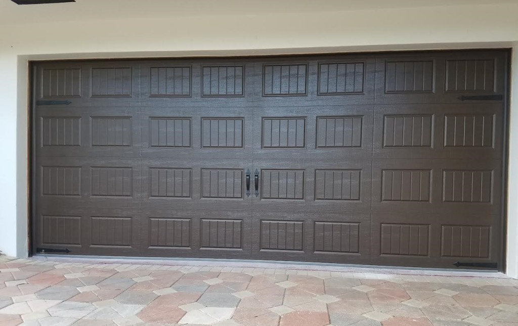 Amarr Oak Summit Garage Doors, Short Panel Bead Board, Impact Glass U0026 No  Glass, White And Dark Brown